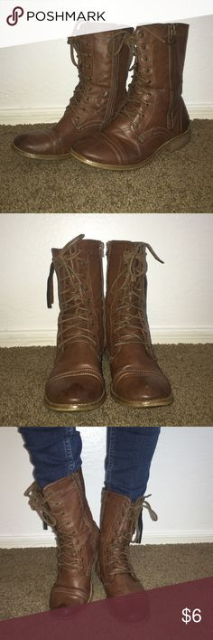 Brown combat boots Light Brown combat boots with zipper on both sides Cathy Jean Shoes Combat & Moto Boots