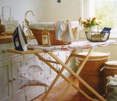 pretty ironing board and supplies