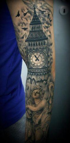 Big Ben clock tattoo by 2ndFace Tattoo