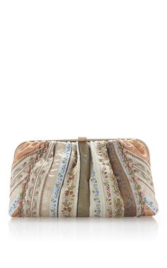 Peach Haberdashery Ribbon Metal Framed Clutch by ETRO for Preorder on Moda Operandi