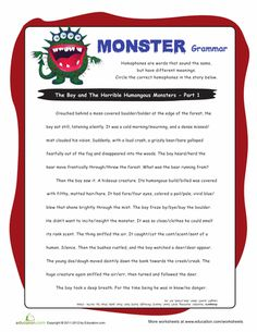 This homophone worksheet encourages your kid to learn with a fun monster story. Use this homophone worksheet to help improve spelling and vocabulary knowledge. Grammar Activities, Grammar Worksheets, Writing Activities, Comprehension Worksheets, Stories For Kids, Word Work, Phonics, Lesson Plans