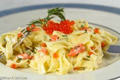 Creamy, rich dill sauce infused with smoked over fettuccine pasta topped with red is an elegant but easy dinner to make. Serves as a main dish or as a first course. Fish Dishes, Seafood Dishes, Pasta Dishes, Pasta Sauces, Main Dishes, Dill Sauce, Smoked Salmon Pasta, Caviar Recipes, Pizza