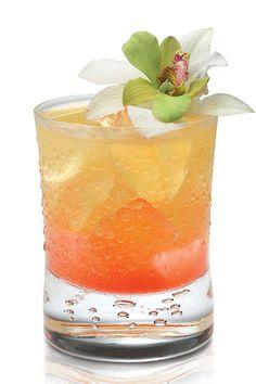 Summer Passion  1 oz. Frangelico hazelnut liiqueur 1 oz. passion fruit juice Laurent-Perrier Brut NV Champagne Grenadine