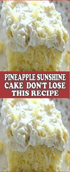 Pineapple Sunshine Cake – Don't LOSE this recipe!   RecipesYummi Best Cake Recipes, Sweet Recipes, Favorite Recipes, Recipes For Cakes, Boxed Cake Recipes, Easy Recipes, Summer Cake Recipes, Dessert Cake Recipes, Homemade Cake Recipes