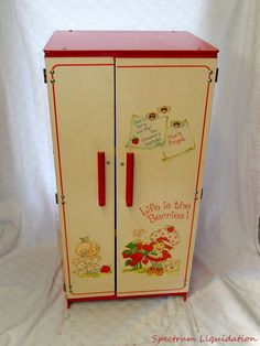 "Vintage 1980s Strawberry Shortcake Refrigerator Cabinet Girls Playset 31 1/4"" #Mattel"