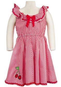 Kid's Cherry Bop Dixie Dress by Sourpuss Clothing Toddler Girl Dresses, Little Girl Dresses, Girls Dresses, Summer Dresses, Toddler Girls, Sourpuss Clothing, Cherry Dress, Gingham Dress, My Little Girl