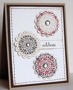 "Delicate Doilies? - Stampin' Up!  Fussy for the layers.   NOTE:  For some reason, Pinterest will pop up a ""spam"" window when you click on the photo.  I am not sure why as it's the woman's blog.  You can click ""continue"" if you want to go to her blog or just cancel to stay in pinterest."