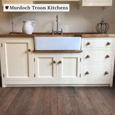 This is a traditional Belfast sink unit with a stack of three drawers to one side of the sink and a full-height door to the opposite side with a useful cupboard under the ceramic sink.  ⠀ Bespoke options include choosing which side of the sink you'd like the drawers, and which side you'd like the drainer. Not to mention a finish in your choice of Murdoch Troon premier paints and any handles from our wide range of options.⠀ Kitchen Sink Units, Kitchen Cost, Pine Kitchen, Kitchen Ideas, Belfast Sink, Solid Wood Kitchens, Pine Timber, Freestanding Kitchen, Ceramic Sink