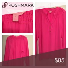 Lilly Pulitzer Flamingo Pink Elsa Top NWOT 100% silk! Size Large. Never worn/never washed. NWOT (new without tags) Lilly Pulitzer Tops Blouses