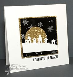 by Mary: Happy Scenes, Winter Wonderland dsp, Gold Glimmer Paper, Sleigh Ride Edgelits - all from Stampin' Up!