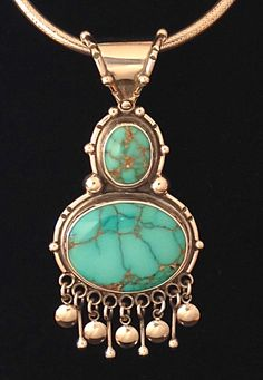 Carico lake turquoise pendant by Annelise Williamson.