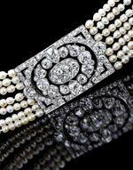 A belle époque diamond and natural pearl bracelet by Cartier #DiamondsForChristmas