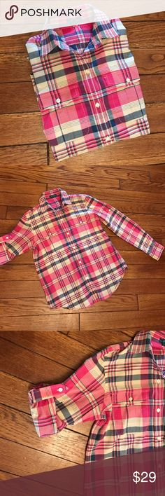 Ralph Lauren Pink Plaid Button Down Ralph Lauren pink and blue plaid button down shirt.  Light, airy fabric.  Button tabs to hold up sleeves. Lauren Ralph Lauren Tops Button Down Shirts