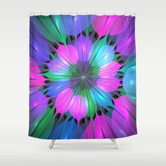 Colorful and Luminous Fractal Shower Curtain by gabiw Art.