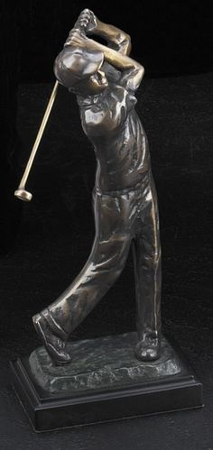 Tee Off 2 Golfer Bronzed Metal Sculpture T.P.