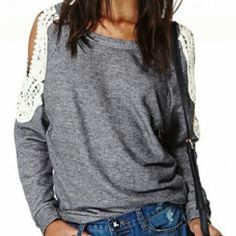 Grey Open shoulder top Grey top with white lace detailing around the shoulders. Item pictured is the actual item. Tops Tees - Long Sleeve