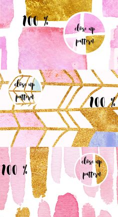 50 gold and pink seamless patterns! by holaholga on @creativemarket