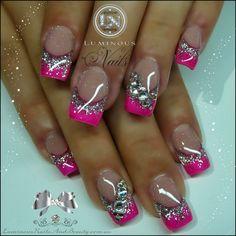 Luminous Nails: Fuchsia & Silver Nails with Bling Silver Nails, Bling Nails, Diy Nails, Bling Bling, Sparkly Nails, Pink Sparkly, Silver Glitter, Glitter Nails, Cute Acrylic Nails