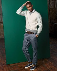 SEP '14 Style Guide: J.Crew men's colorblock sweatshirt, and broken-in chino pant in urban slim.