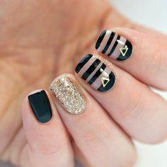 Black & Gold Negative Space Nails