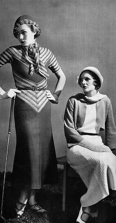 Knitted sportswear, 1930s. Somehow.. Knitted & Sportswear don't seem to belong to each other these days.