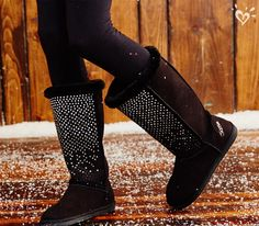 Comfort meets style with our cozy rhinestone-sprinkled boots.
