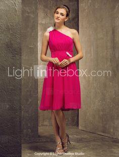 une ligne un genou longueur robe de demoiselle d'honneur de mousseline de soie épaule (808867) - USD $ 61.19