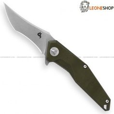 """BLACK FOX KRAVI SHAI Folding Tactical Knife BF-729SW, folding military tactical knives with blade of 440C stainless steel of high quality with Stone Washed finishing - HRC 57/59 - Blade lenght 2.8"""" - Thickness 0.10"""" - Handle made with two steel liners and inserts of Green G10 with rouge textured for a better grip - Liner Lock system - 420J2B stainless steel back clip - Overall lenght 6.5"""" - Design by Avi Nardia - Krav in hebrew means combat and Kravi is combatant or warrior, as martial…"""
