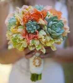 bridal bouquet, wedding flowers, succulents, orange wedding, green wedding, rustic wedding, vintage wedding
