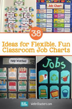 38 Ideas for Flexible, Fun Classroom Job Charts. Need help assigning classroom jobs? These adorable classroom job charts to the rescue! Includes both DIY and pre-purchased ideas. Classroom Decoration Charts, Preschool Classroom Jobs, Classroom Jobs Board, Classroom Jobs Display, Classroom Helpers, Toddler Classroom, Classroom Organisation, Classroom Community, Fle