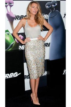 WHO: Blake Lively  WORE: Burberry Prorsum  WHERE: 'Turbo' New York Premiere  WHEN: July 9, 2013