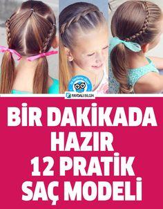 Bir Dakikada Hazır 12 Pratik Saç Modeli #saç #saçmodeli #pratik #bilgi #kadın #çocuk #kız #düğün #davet #eğlence #faydalı #kuaför #saçtasarımı #model