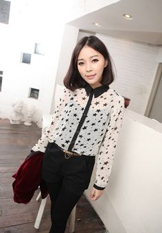 Modern Style Shirt Collar Five-Pointed Star Transparent Design Long Sleeve Chiffon Blouse For Women (WHITE,ONE SIZE) China Wholesale - Sammydress.com