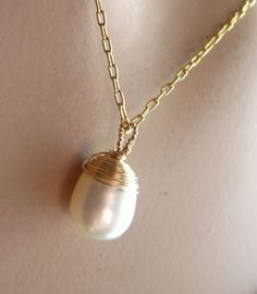 Deocratd pearl Gold fill necklace by Featherjewellery on Etsy