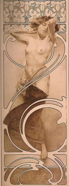 Documents Decoratifs (plate 10), by Alphonse Mucha, France, ca.1901 | Nymph in Front of a Daffodil Frieze poster
