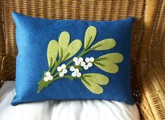 Ready To Ship  Wool Felt Mistletoe Pillow 12 x 16. $30.00, via Etsy.