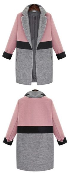 Can't wait to wear this gorgeous Pink Grey Lapel Pockets Woolen Coat when the days turn cool and crisp.