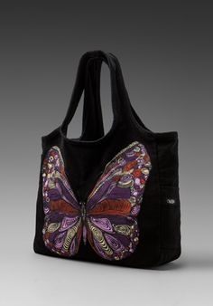 Lauren Moshi Taylor Color Butterfly Tote Bag in Black