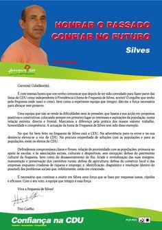 Carta do Candidato Cabeça de Lista à Junta de Freguesia de Silves.  Autarquias 2013. #Silves #CDU #Autárquicas2013
