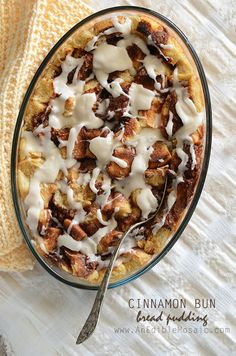 Cinnamon Bun Bread Pudding Recipe #breakfast #brunch #dessert