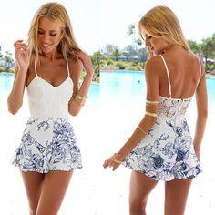 Womens Cute Playsuit Jumpsuit Beach Short Dress