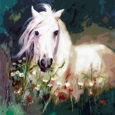 """""""White Horse in Poppies Modern Equine Art"""" by Ginette Callaway, Lovejoy // The original acrylic painting is sold. Please contact me for commission requests, questions or other custom requests ginette@ginettefineart.com~~~~~Mixed Media. I take my original oil and watercolor paintings and create derivatives, by applying skillful and delicate, digital... // Imagekind.com -- Buy stunning fine art prints, framed prints and canvas prints directly from independent working artists and photographers."""