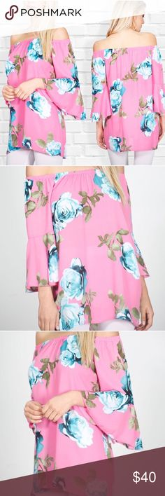 •NEW ARRIVAL• Pink off the shoulder tunic Gorgeous pink off the shoulder tunic with blue flowers  MATERIAL 100% polyester Glamvault Tops