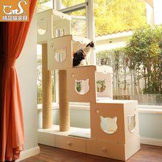 CatS猫家具经典步步高木制超大猫爬架 粗剑麻猫抓柱储物抽屉 BBG