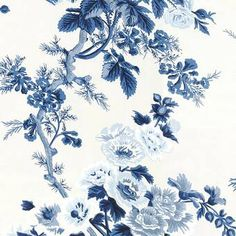 Schumacher Pyne Hollyhock Floral Chintz Indigo Wallpaper Two-roll Set Blue And White Wallpaper, Blue Floral Wallpaper, Blush Wallpaper, Vintage Flowers Wallpaper, Toile Wallpaper, Botanical Wallpaper, Wallpaper Size, Wallpaper Samples, Flower Wallpaper