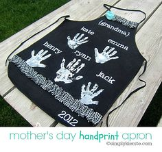 DIY Mother's Day Gifts | Darling handprint aprons that are perfect for Mother's Day...for moms or grandmas! They are easy to make, inexpensive, and PRICELESS!!!