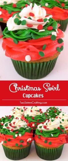 christmas cupcakes Christmas Swirl Cupcakes - a beautiful Christmas Cupcake for your holiday parties. Christmas Desserts never looked so good. us for more great Christmas Treats ideas. Holiday Cakes, Holiday Desserts, Holiday Baking, Holiday Treats, Christmas Baking, Holiday Parties, Holiday Recipes, Party Desserts, Holiday Foods