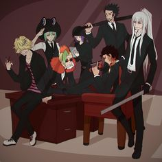 Office!Varia featuring:  • Xanxus and his staple gun  • Squalo and his meter stick  • Belphegor and his stabby pens  • Levi-A-Than and his umbrella  • Lussuria and his white gloves  • Mammon and the Vongola tablet… thing  • Fran and his froggy...