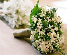 Lily of the valley. combining lily of the valley with other delicate, fragrant blooms such as stephanotis, jasmine and ornithogalum.