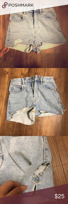 High rise asos mom cutoff shorts Super cute and the hole in the left side is part of it-was advertised that way as distressed cutout. Worn only once-not my style ASOS Shorts Jean Shorts